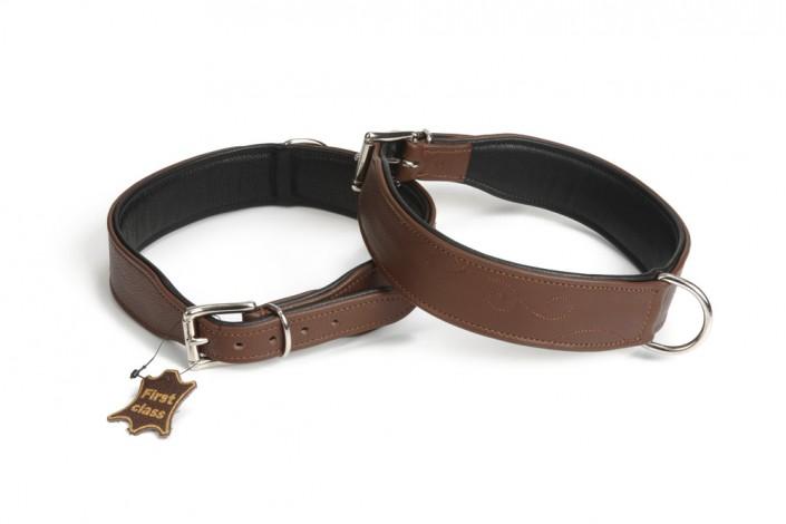 Leather Dog Collar Swirl Brown